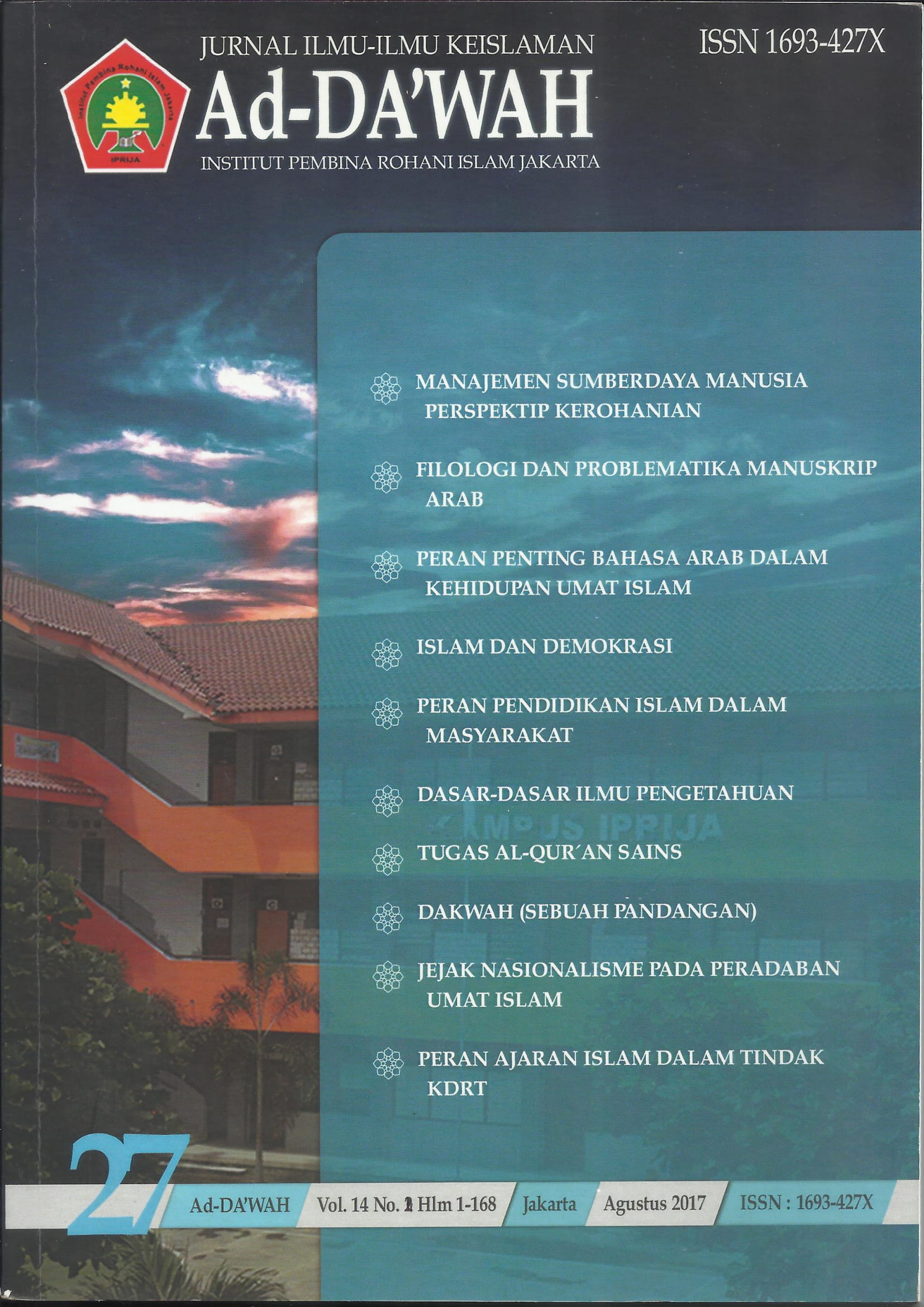Jurnal Ad-Da'wah 27 Vol. 14 No. 1 Tahun 2017